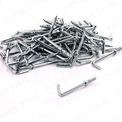 £4.27 • Buy 50x ZINC PLATED 38mm SHOULDERED DRESSER CUP HOOKS Square Silver Screw In L Shape