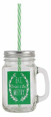 Retro Tennessee Glass Handled Christmas Drinking Jar With Lid And Straw ~ Green • 6.99£