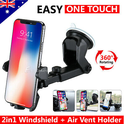 AU13.49 • Buy Car Phone Holder Air Vent Windscreen Universal Suction Mount GPS Stand Cradle