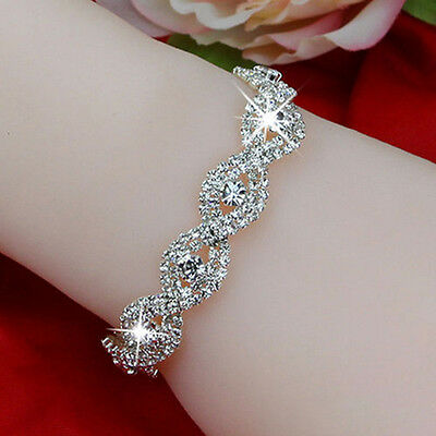 $1.39 • Buy Elegant Women Crystal Rhinestone Infinity Bangle Bracelet Deluxe Jewelry Gift