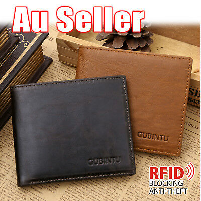 AU14.95 • Buy Genuine Leather Mens Purse Bifold Credit Card Wallet RFID Blocking Anti Scan OZ