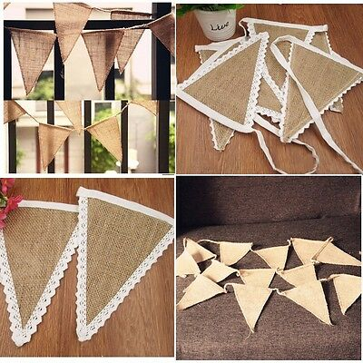 Wedding Party Decor Rustic Lace Vintage Jute Hessian Burlap Chic Banner Bunting • 3.69£