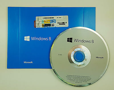 Microsoft Windows 8 32 Bit DVD Vollversion Deutsch WN7-00372 • 76.96£