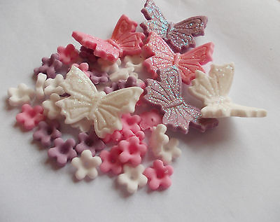 Edible Sugar Icing Blossom Flowers Glittered Butterfly Cup Cake Toppers • 3.75£