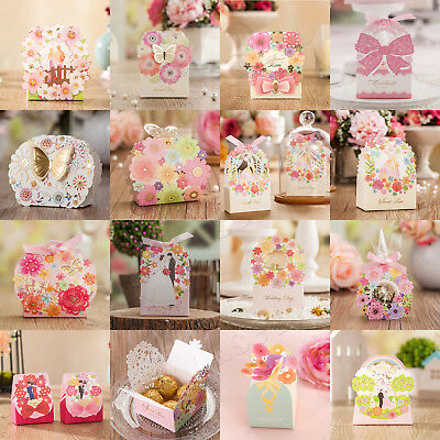 1-100Pcs Spring Flowers Butterfly Wedding Favour Boxes Party Gift Bags Ribbons • 0.99£