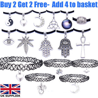 £1.79 • Buy Black Real Leather Cord Silver Charm Tattoo Choker Necklace Pendant For Women