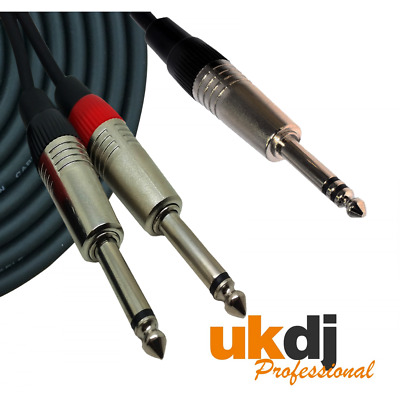 3m 6.35mm 1/4  TRS Jack Stereo To Twin 2 X 1/4  Jacks Mono Cable Audio Lead • 8.99£