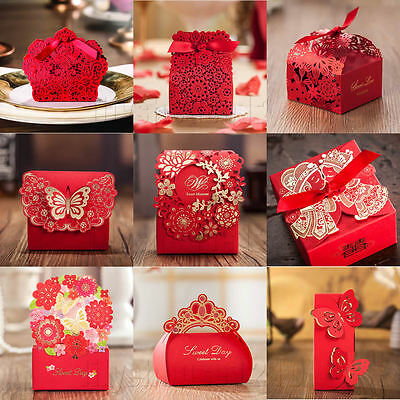 Red Theme Gilding Butterfly Heart Wedding Favour Boxes Party Gift Bags & Ribbons • 0.99£