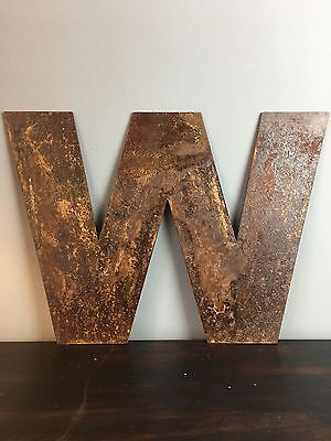W Industrial Rusty Lettering Letters Sign Metal Shop Front Home Font 12inch • 11.99£