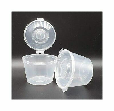 Plastic Food Grade Storage Container Pot Tub With A Hinged Lid - 100ml 4oz - 4WL • 8.99£