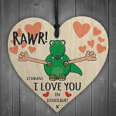 Rawr I Love You Novelty Wooden Hanging Heart Plaque Funny Valentines Day Gift • 3.99£