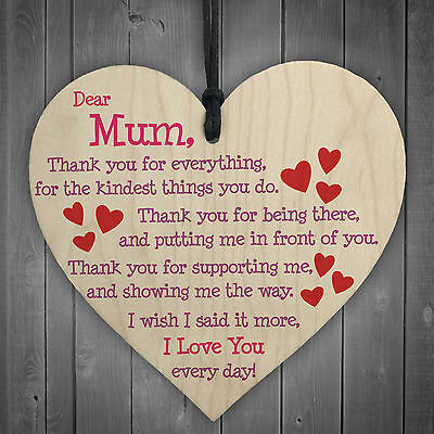 Mum I Love You Everyday Wooden Hanging Heart Mothers Day Gift Cute Mums Sign New • 3.99£