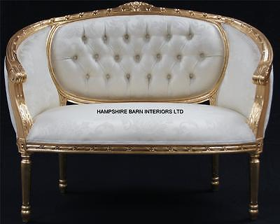 Double Ended  Gold & Ivory  French  Louis Ornate Chaise Longue Sofa Home Salon • 699£