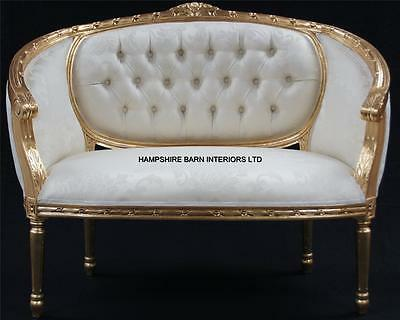 £699 • Buy Double Ended  Gold & Ivory  French  Louis Ornate Chaise Longue Sofa Home Salon