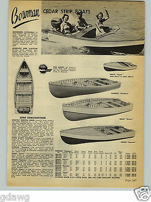 $30.39 • Buy 1954 PAPER AD 3 PG Bowman Cedar Strip Wood Wooden Boats Rogue Majestic Outboard