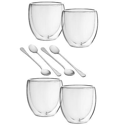 Double Walled Coffee Cup Glasses & Spoons For Bodum Cappuccino, Espresso Tea Etc • 8.99£