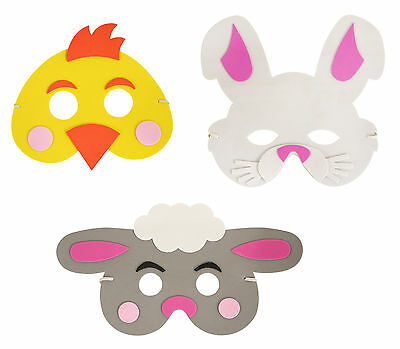Childrens Easter Foam Mask 3 Designs Chick Bunny Lamb Fancy Dress Party Nativity • 1.99£