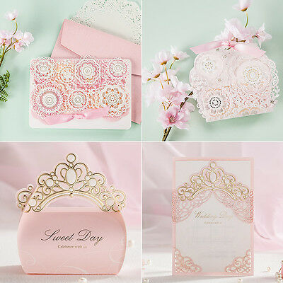 Pink Theme Crown Laser Cut Wedding Favour Bags Boxes Invitations Cards Envelopes • 3.41£
