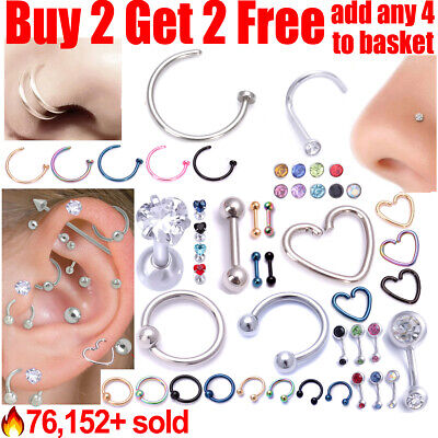 £1.38 • Buy Surgical Steel Helix Tragus Daith Stud Ring Nose Ring Stud Belly Bar Piercing