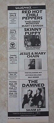 $14.69 • Buy Red Hot Chili Peppers Vintage Oct 8th 1988 Concert Poster Ad 4.5x13