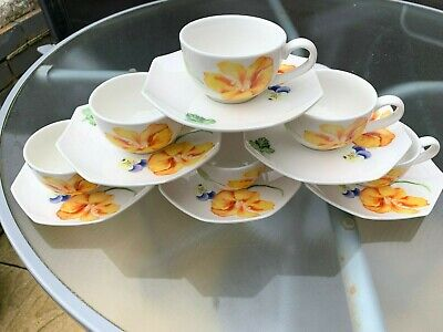 Set Of 6 Wedgwood Chelsea Garden Espresso Tea / Coffee Cups & Saucers (New) • 19.99£