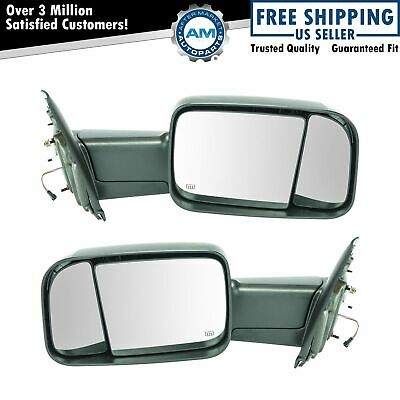$322.84 • Buy Towing Mirror Power Heated Turn Signal Textured Caps Pair For Dodge Ram Truck