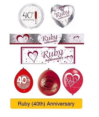 RUBY 40th Wedding ANNIVERSARY Party Supplies - Banners, Balloons & Decorations • 1.85£