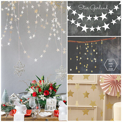 4M Gold Silver Blue Star Wedding Birthday Party Banner Bunting Home Decorations • 3.79£