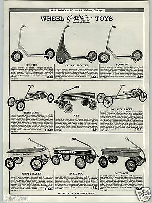$14.99 • Buy 1939 PAPER AD Gendron Skippy Scooter Racer Coaster Wagon Dictator Irish Mail