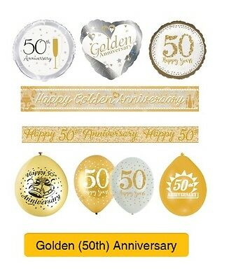 GOLDEN 50th Wedding ANNIVERSARY Party Supplies - Banners, Balloons & Decorations • 2.75£