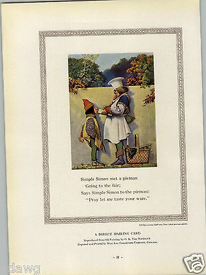 1927 PAPER AD Simple Simon Pieman Nursery Rhyme Commercial Printing Award • 22.22£