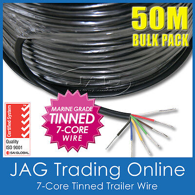 AU139.95 • Buy 50M X 7-CORE TINNED TRAILER WIRE MARINE GRADE-AUTO/BOAT/CARAVAN ELECTRICAL CABLE