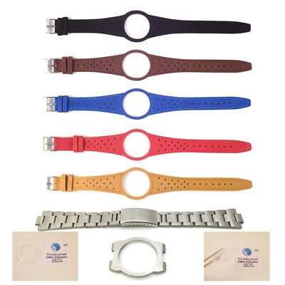 Mens Watch Strap Band For OMEGA DYNAMIC Leather Replacement Silver Buckle S6 • 17.99£