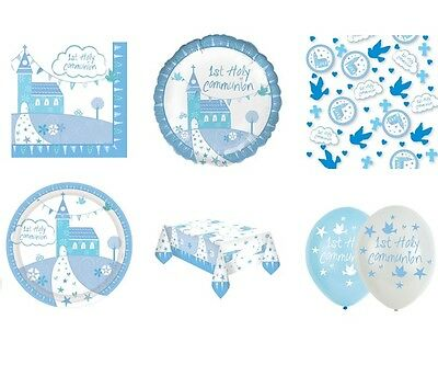 1st HOLY COMMUNION CHURCH First BLUE/BOY Party Range -Tableware & Decorations • 3.25£
