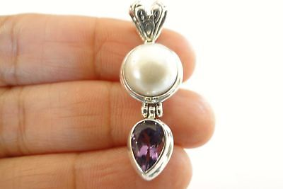 $49 • Buy White Mabe Pearl Purple Amethyst 925 Sterling Silver Pendant