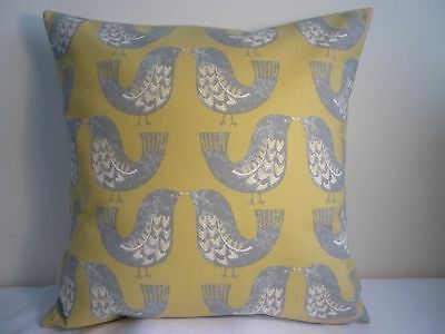 "Cushion Cover 16"" Designer Scandi Love Birds Mustard Yellow Grey Retro Vintage • 6.49£"