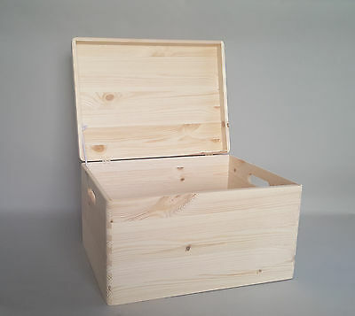 Large Plain Wood Storage Box With Lid And Handles Craft Keepsake Wooden Boxes • 8.99£