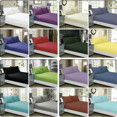 AU29.99 • Buy 1000TC Ultra SOFT - 3 Pc/2 Pc FITTED Sheet Set(No Flat)Queen/King/Super Size Bed
