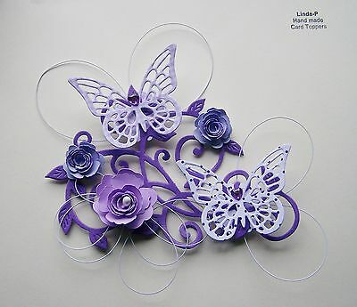 3D FLOWER, BUTTERFLY AND WIRE CARD CRAFT TOPPER  GEN 12-2 Lilac • 2.50£
