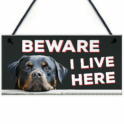 £3.99 • Buy BEWARE I LIVE HERE Rottweiler Hanging Outdoor Dog Warning Sign Gate Security NEW