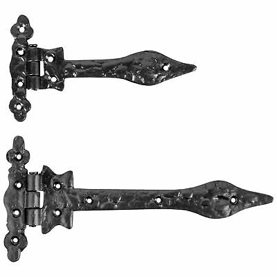 £9.63 • Buy BLACK ANTIQUE Cast Iron Gate/Garage/Shed Door Hinges T Tee Strap Arm Small/Large