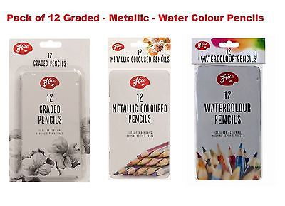 Artist Metallic/ Water Colour/ Graded Charcoal Pencils 12/24/36 Draw Sketching • 3.19£