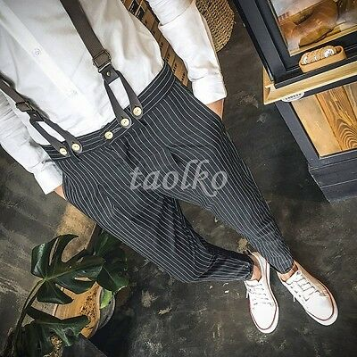 $52.79 • Buy Fashion Strips Mens Suspenders Trousers Summer Jumpsuits Overalls Pencil Pants