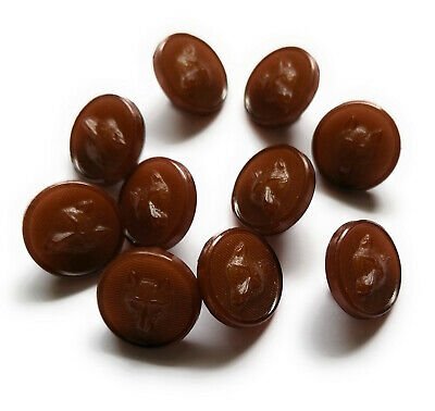 $6.94 • Buy Pack Of 10 Small 15mm Brown Plastic Fox Head Design Buttons