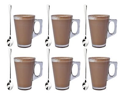 Set Of 6 Latte Glass Tea Coffee Cappuccino Drinking Cup 220ml With Free Spoons • 7.75£