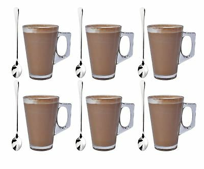 £7.99 • Buy Set Of 6 Latte Glass Tea Coffee Cappuccino Drinking Cup 220ml With Free Spoons