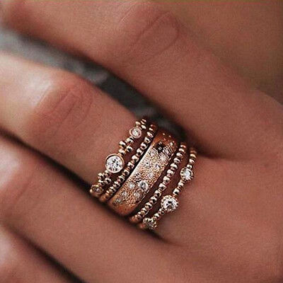 AU1 • Buy 5Pcs/Set Boho Crystal Rose Gold Stackable Ring 5 Sparkly Rings Fashion Jewelry