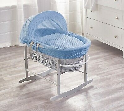 £59.99 • Buy Blue Dimple Grey Wicker Padded Moses Basket With Grey Rocking Stand And Bedding