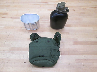 $ CDN19.31 • Buy 1 US MILITARY 1QT CANTEEN: BLACKw/GREEN LID, OLIVE GREEN COVER&CUP ~GENTLY USED~