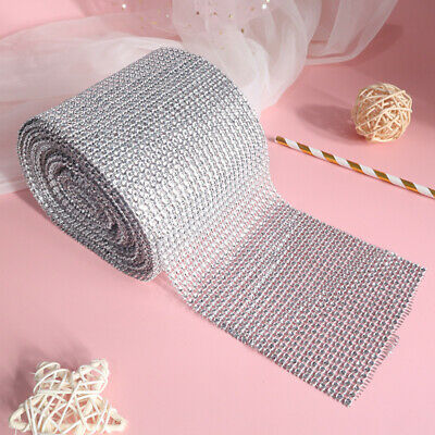 Diamante Diamond Effect Ribbon Trim - Silver 1m Lengths -  Cakes, Bridal, Craft • 1.79£